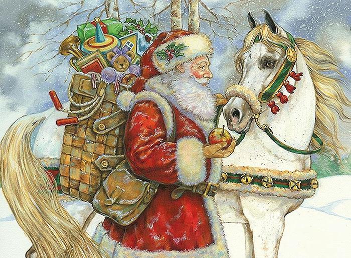 Санта с лошадью