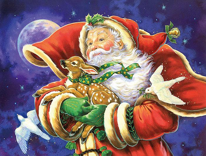 Санта с олененком