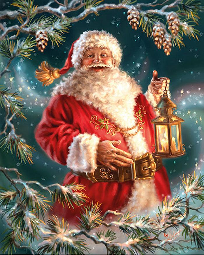 Санта-Клаус с фонарем