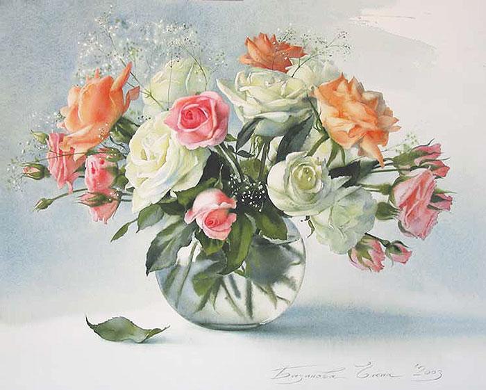 розы акварелью