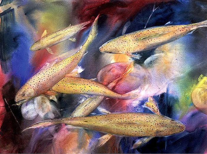 рыбий косяк в акварели
