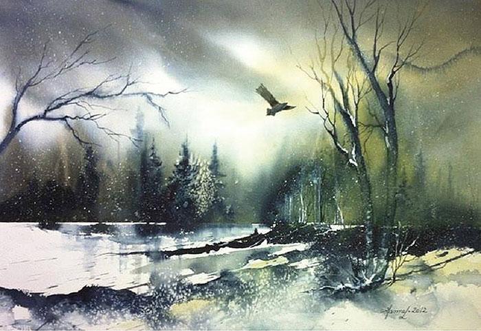 Пейзаж с птицей