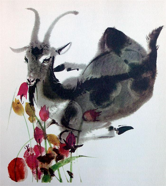 Коза и тюльпаны