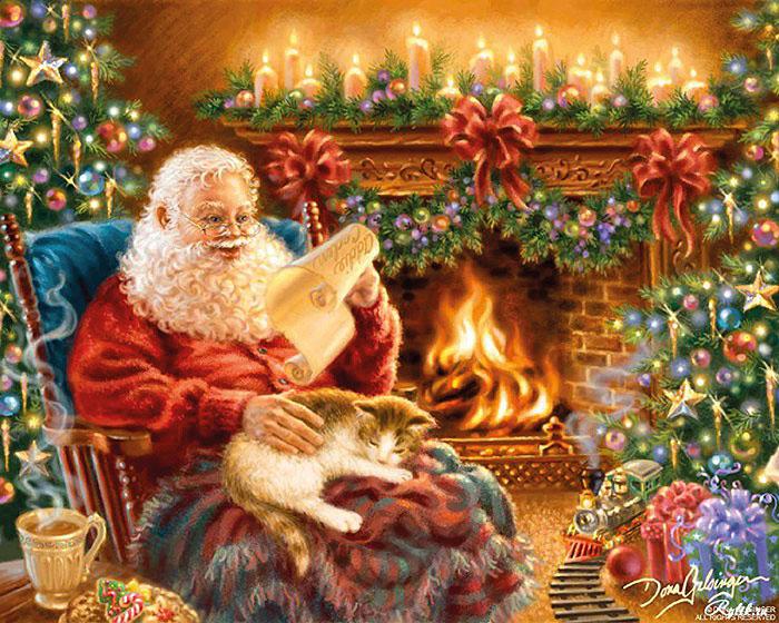 Санта-Клаус у камина