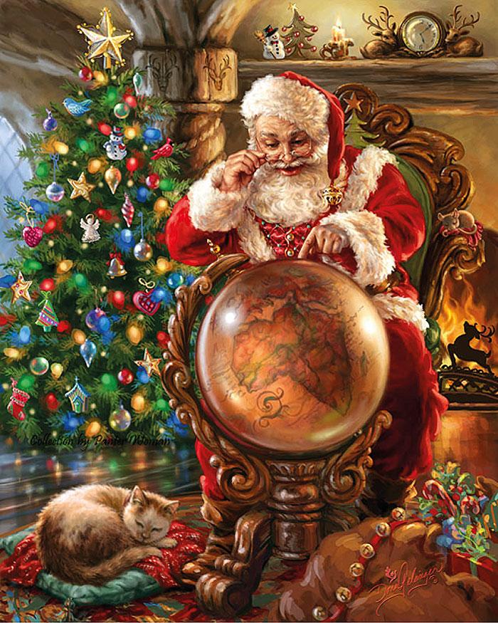 Санта-Клаус с глобусом