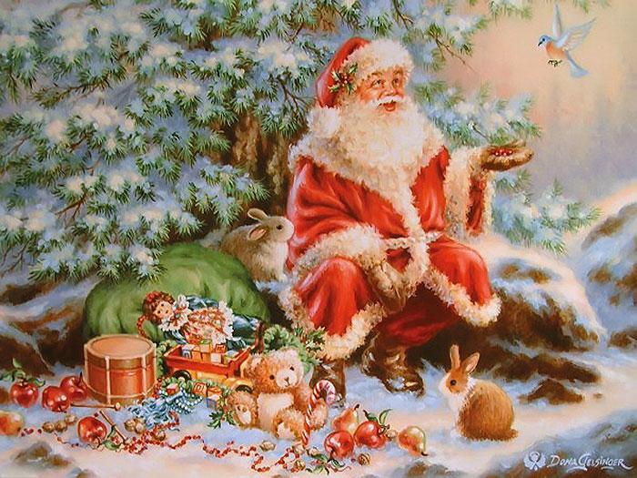 Санта-Клаус с птичкой