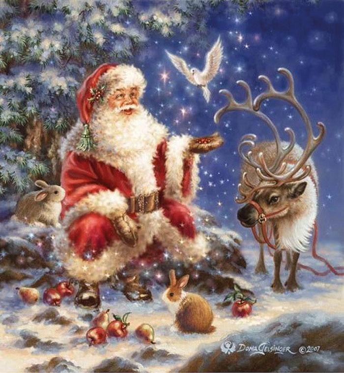 Санта-Клаус с птичкой 2