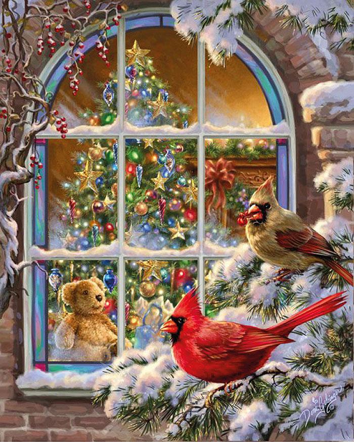 Окно с елкой