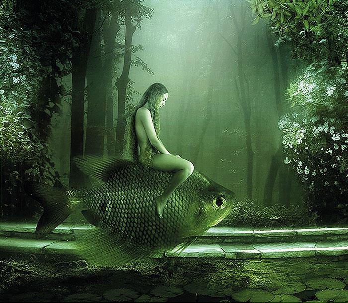 девушка на рыбе