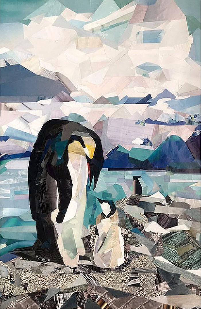 коллаж пингвин