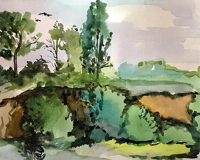 акварельный пейзаж